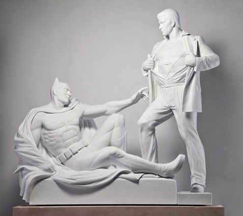 batman, oeuvre canonique, sculpture, superman, Mauro Perucchetti