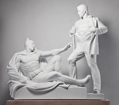 batman, oeuvre canonique, sculpture, superman, Mauro Perucchetti