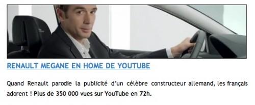 publicité renault, plagiat opel, remake, parodie, pub,2011,Renault Tv, qualité allemande, qualité française